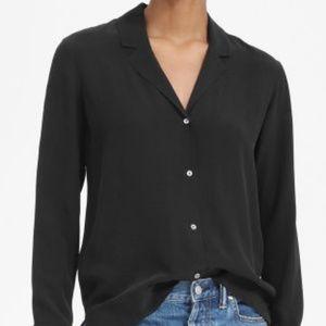 Ann Taylor Black Button Down Shirt Size M